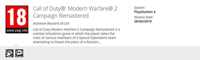 PS4-версия ремастера Call of Duty: Modern Warfare 2 пол ...