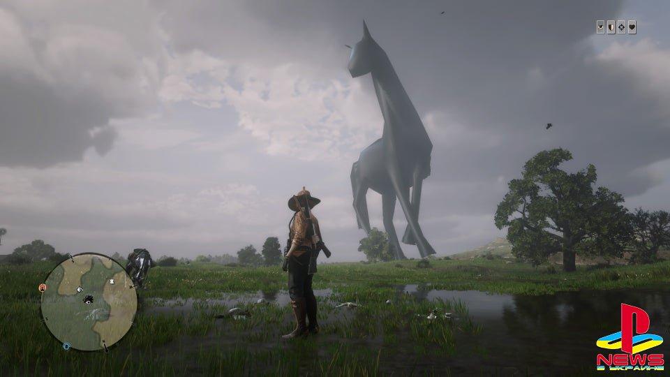 В Red Dead Online игроки стали встречать гигантских лош ...