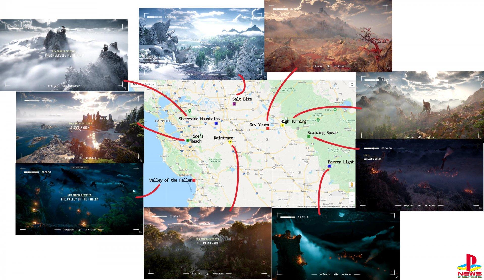 Локации из Horizon: Forbidden West для PlayStation 5 нашли на карте реальной Калифорнии