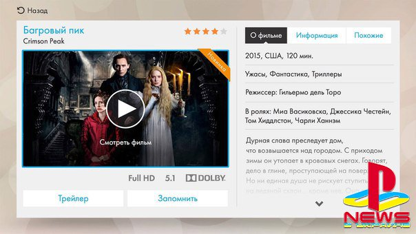 Российским пользователям PlayStation 4 стал доступен сервис для просмотра фильмов и зарубежных сериалов на русском языке